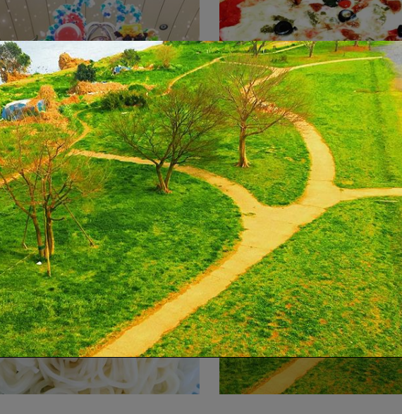 三本の木と三叉路 Three trees and a customised
