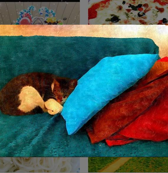 ソファで眠るネコ 絵画風 Cat sleeping on the couch